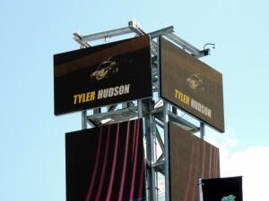 Hudson Name atop Scoring Tower