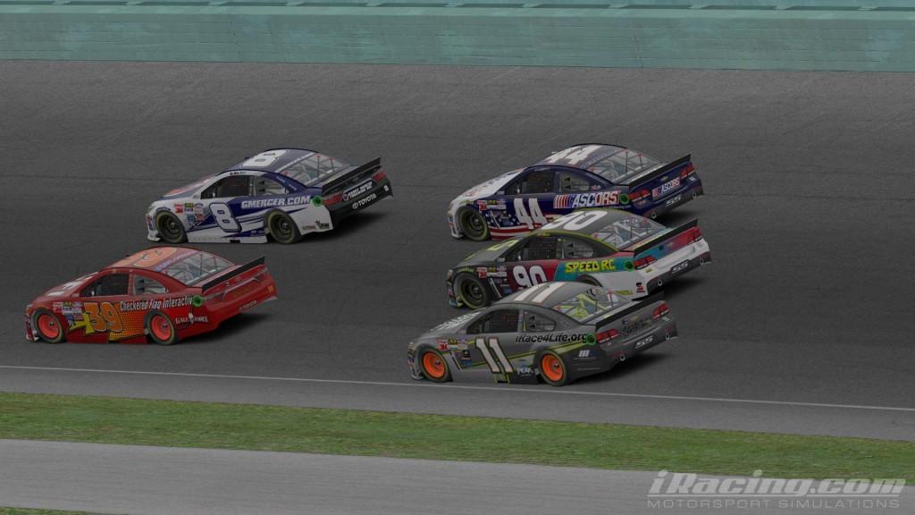 The sim racing was fast and heavy at Homestead as Adam Gilliland (8), Michael J Johnston (39), Logan Clampitt (44), Nicholas Johnston (90) and Brad Davies (11) demonstrate.