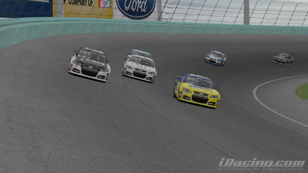 Byus (27), Berry (88) and Tyler Laughlin (51) make it three wide at Homestead. Byus looked to have the car to beat early but