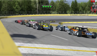 Ryan Edwards-Kiss (#20) leads the field to the green flag in the Outlaw 100 at Southern National Motorsports Park.