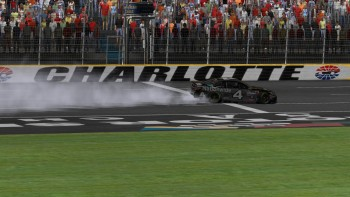 Scott Simley celebrates his Charlotte win with a frontstretch burnout.