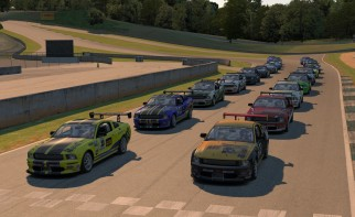 Mustangs and MX-5 line up in grid for the final race of Season 4 in the XtremeMotorsports99.com Continental Tire Road Series.