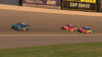 Johnston (#54) leads Simley (#4) and Napier (#18) through Turn 4 with 10 laps remaining.
