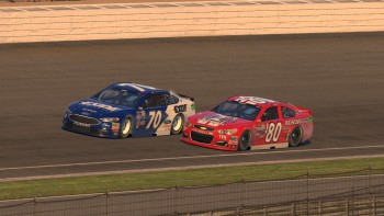 Corey Davis (#70) makes an outside pass on Mike Kelley (#80) for the lead on Lap 48.