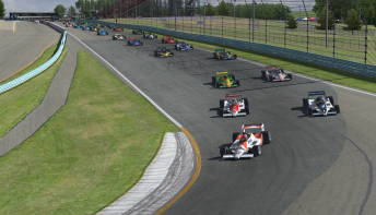 Ryan Otis leads Jake Wright and the field of 34 virtual Lotus 79s into turn one at Watkins Glen.