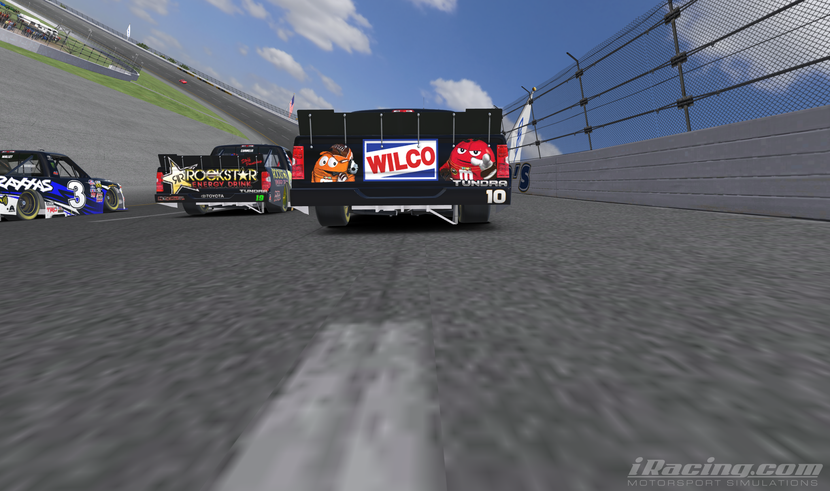 From a dig motorsports tough trucks dega dancin iracing down the backstretch after finally catching the lead pack i swerved high leaving ole mr september out to dry id spied another virtual nascar camping hexwebz Image collections