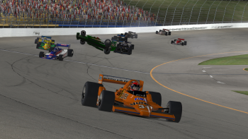 Tony Showen takes the win as the field wrecks behind him