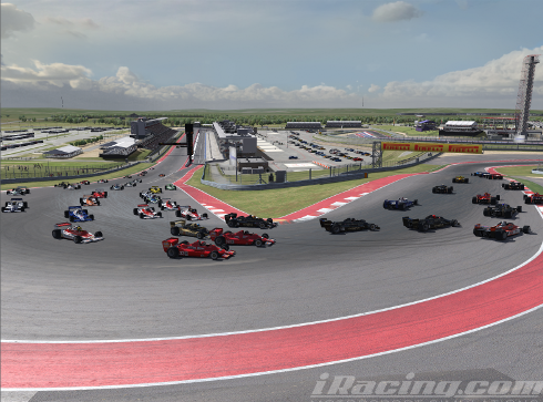The First Turn. 42 cars going all-out