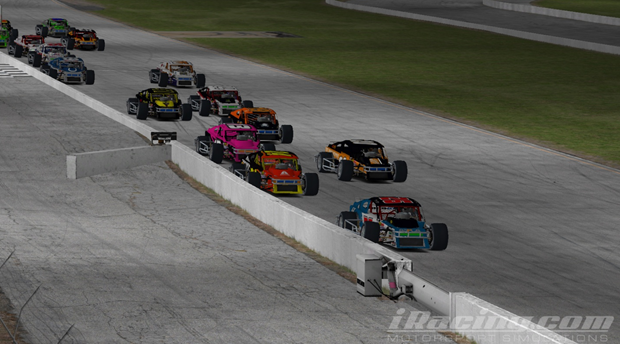 Donny Moore (#26) leads the field at the start of the race.