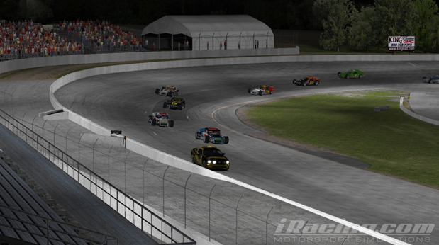 Donny Moore leads the field to checkered flag behind the iRacing pace car.