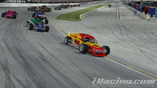 Hoose leads the field at the start of the Outlaw 75 at USA International Speedway
