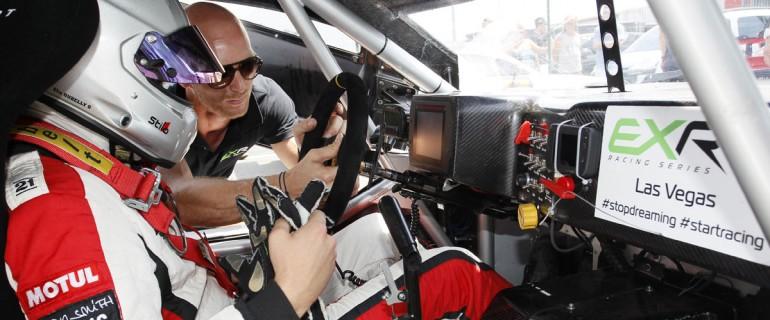 Premat coaches a driver in the purpose-built EXR LV02 race car.