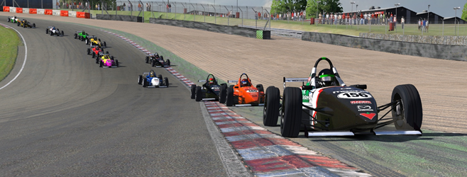 Caption: Gavin Marsden uses all the road (and more) leading the field through Paddock Bend.