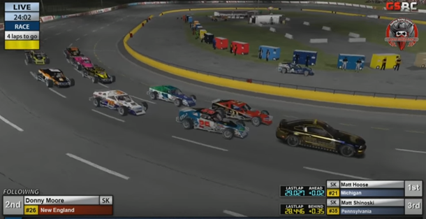 Hoose leads the field to the final restart.