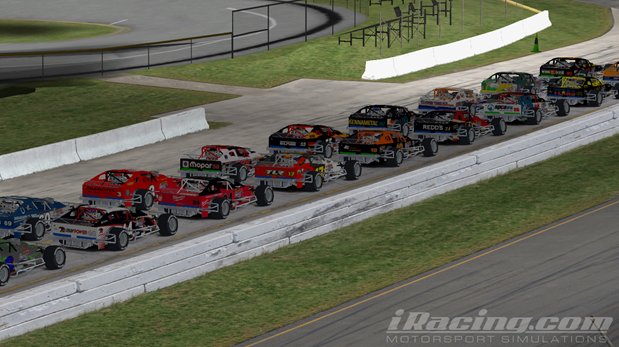 The field of the PWNIT WEAR 75 sits on pit road ready to fire engines.