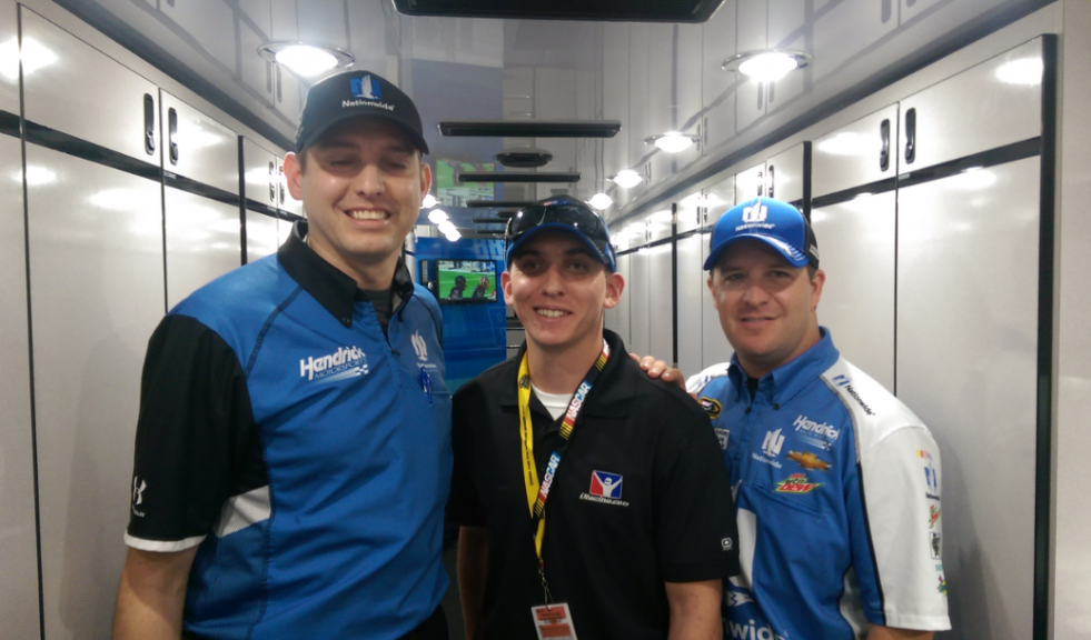 In the #88 hauler with crew chief Greg Ives and TJ Majors.