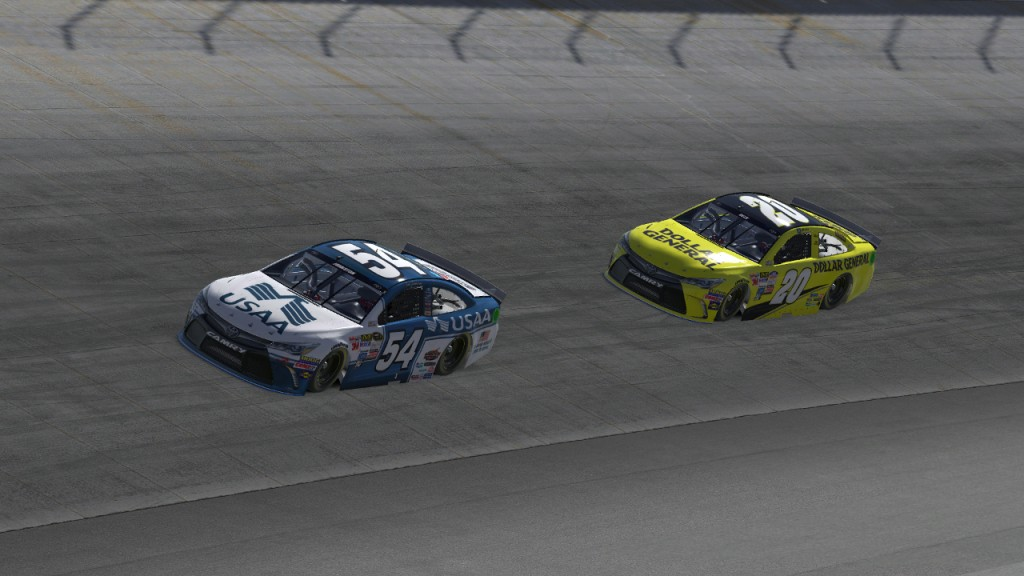 In the preseason race at Dover, Tim Johnston (#54) held off Matt Delk (#20) to score the victory.