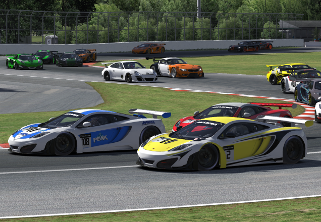 Drivers successfully navigate through Virage Senna at the start of the online race.