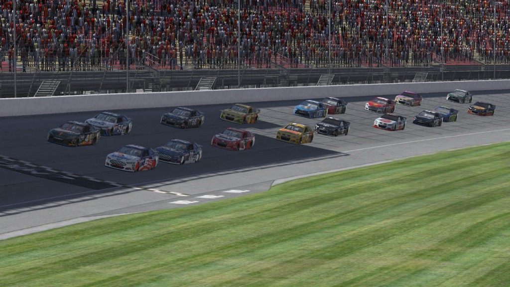 Matt Delk (#6) leads Scott Simley (#4), Corey Davis (#70), Tim Johnston (#54), and the rest of the field to the green flag to begin the new Power Series season.