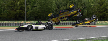 Brian Doell, Aurelien Bonnet and Philippe Leybaert crash in the final corner.