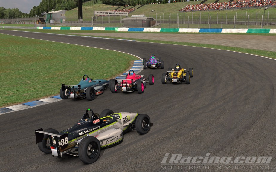 Philippe Leybaert, Arjan de Vreede and Rob Read go three wide on the final lap.