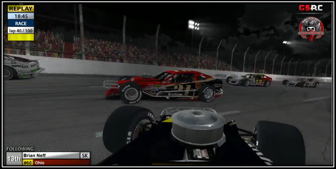 Hoose (#21) slips past Neff (#60) as the caution flies on lap #40.