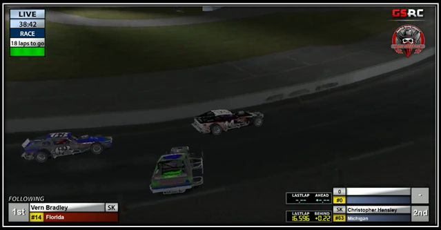 Race leader Brown (#8) spins as Bradley (#14) and Hensley (#63) pass to the inside.