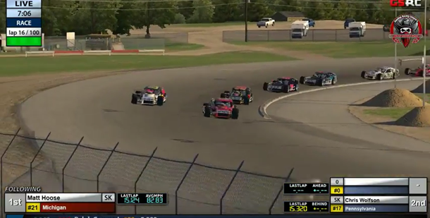 Matt Hoose takes over the race lead on lap 16.