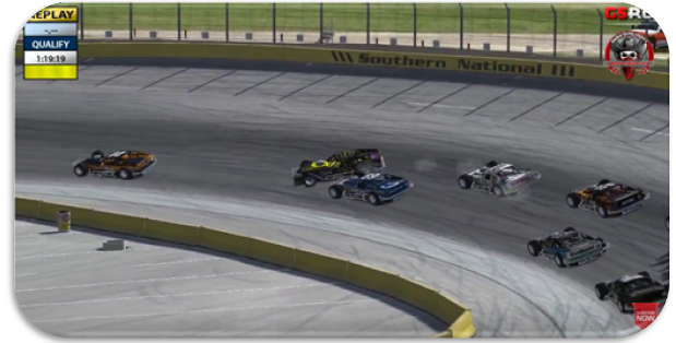 Contact between John Holcomb (#69) and Tim Knott (#41) brings out the first caution early in the event