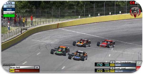 Edwards-Kiss, Neff, Jewell, and Hoose battle for the win in the closing laps.