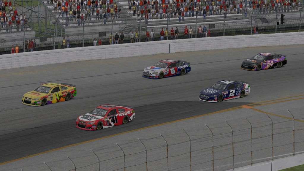 Bobby Terrell (#41) and Dean Moll (#1) lead the field into Turn 1 at the start of the race, with Mike Kelley (#2), Matt Delk (#6), and Tim Johnston (#54) just behind.