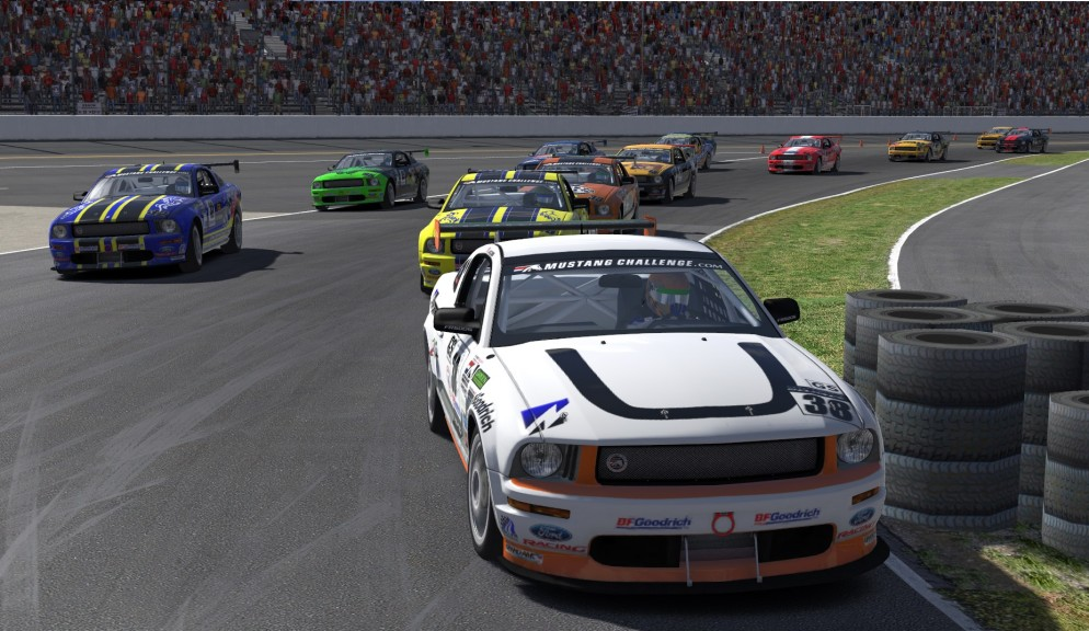 Top qualifier Jeff Jacobs (#38) leads the pack of Mustang into turn 1 at Daytona on the opening lap of the first race of Season 4 in the XtremeMotorsports99 Continental Tire series on iRacing.com.