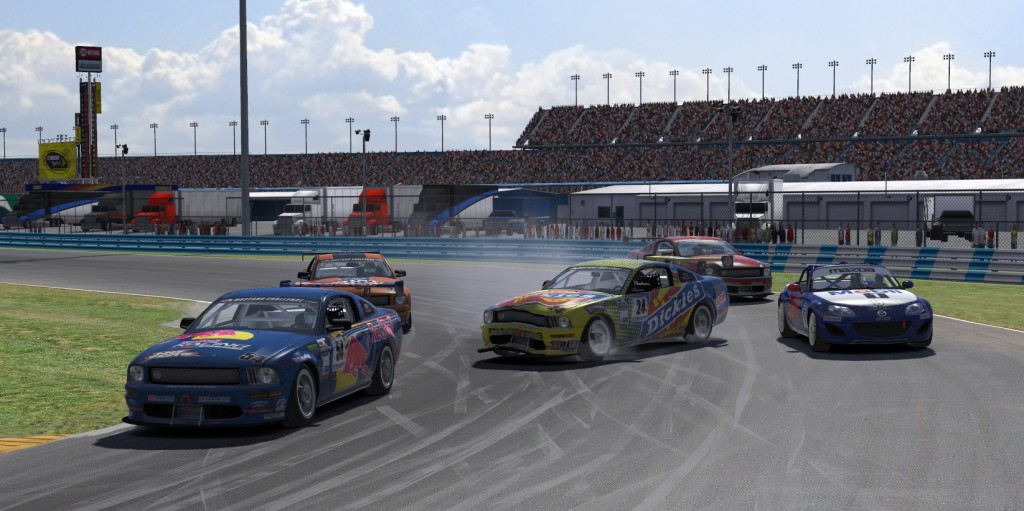 Combine an intense four-way battle in the GS class with a lone ST car coming together in turn 3 at Daytona and you are sure to get some excitement as here Chad Osborn (#24) got a little help on corner entry from behind as Travis Davis (#54) Bob Herra (#33), James Bunce (#9) and Clint Vigus (#71) take evasive action.