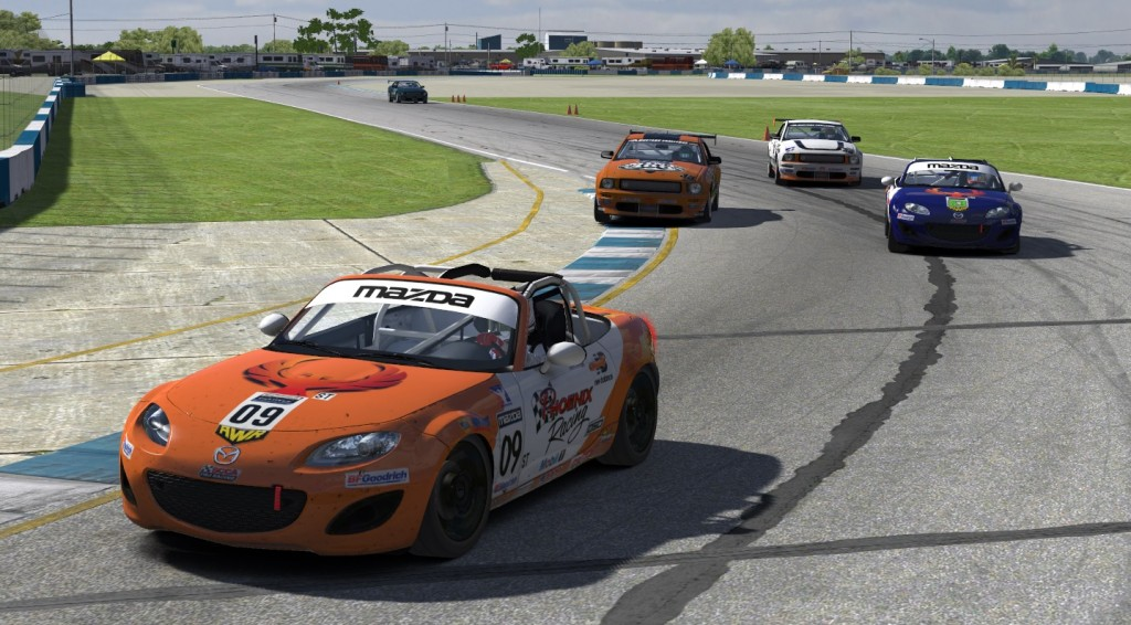 Mixed class racing gets complicated at Sebring with the third-place ST class battle between Jordie Fike (#09) and Brian Cartier (#63) interrupted by the approaching fifth-place GS class battle between Bob Herra (#33) and Jeff Jacobs (#38).