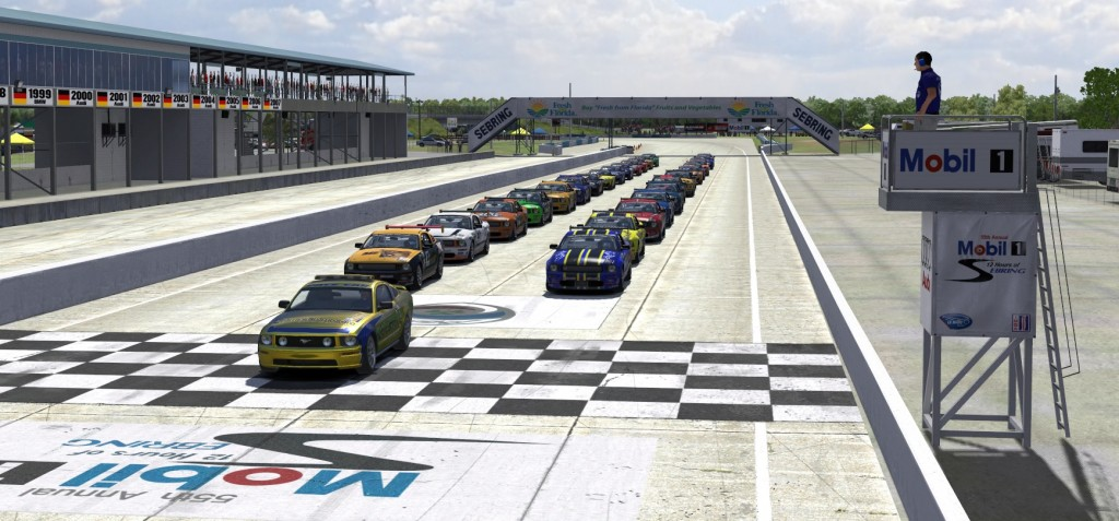 Shiny virtual cars in grid under the virtual sun at Sebring to kick off Week 2 of Season 4 in the XtremeMotorsports99 Continental Tire Series on iRacing.com.