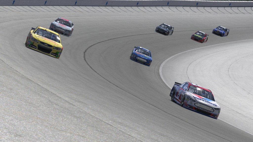 Matt Delk (#6) and Dean Moll (#1) lead a trio of side-by-side battles featuring Rick Thompson and Jeff S. Davis (bottom) racing Saif Faries and John Hensley (top) on Lap 34.