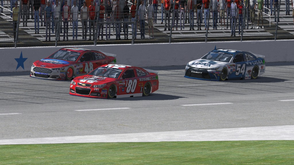 Mike Kelley (#80) passes Michael Long (#48) for the lead on Lap 70 while Tim Johnston (#54) follows in third place.
