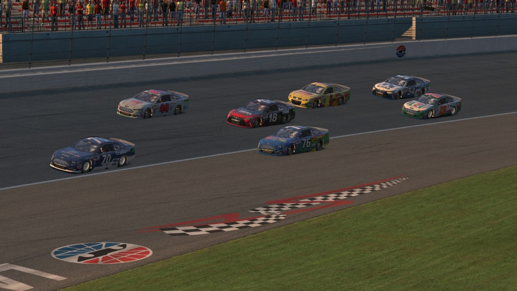 Corey Davis (#70) leads a crowded battle for tenth place on Lap 22 ahead of Saif Faries (#44), Rick Thompson (#76), Marcus Napier (#18), Dean Moll (#1), David Boden (#28), and Tim Johnston (#54).