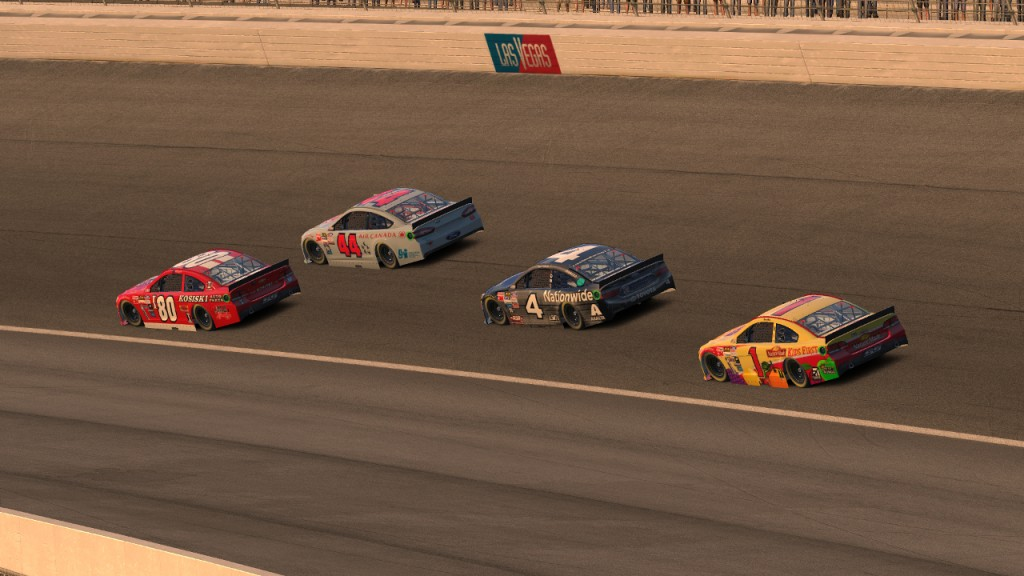 Kelley (#80) takes the lead from Faries (#44) on Lap 148 while Simley (#4) and Moll (#1) run third and fourth.