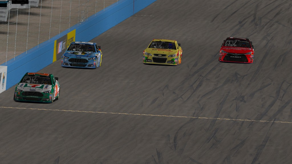 Brad Collins (#67, outside), Dean Moll (#1, middle), and Chad Dalton (#77, bottom) fan out three-wide on Lap 72 as they battle for seventh place behind David Boden (#28).