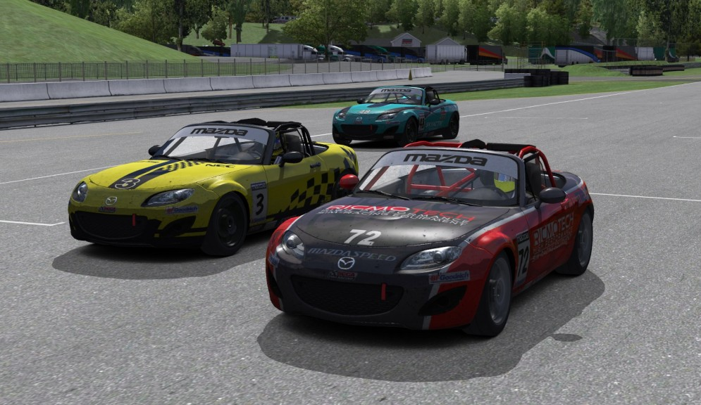 Out of fuel on the final lap, Andre Saunders (#72) coasts helplessly toward the finish line as Robert Hartley (#3) and Justin Hille (#48) slip past to claim the last two podium spots at Lime Rock Park.