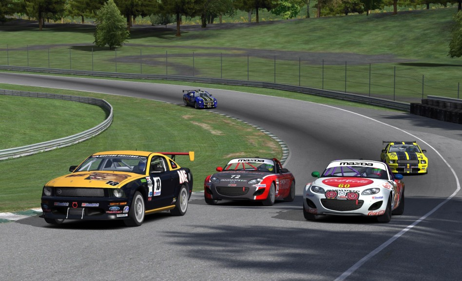 GS Class leader Tyler Shifflett (#13) puts ST drivers Daniel Krueger (#60) and Andre Saunders (#72) between himself and persuers Liam Hackwith (#23) and Kevin Ford (#32) at Lime Rock Park.