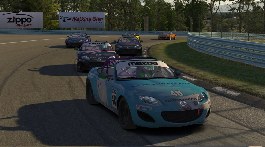 For the opening 15 laps at Watkins Glen, six ST drivers battled in a pack with multiple lead and position changes: Justin Hille (#48) Nicolas Taeymans (#82) Brad Wootton (#97) John Allen (#22) Robert Hartley (#3) and Travis Schwenke (#16).