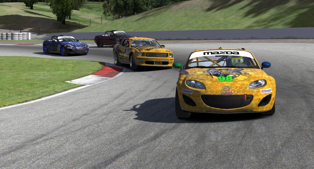 Mosport's Moss Corner provided a little mixed-class racing togetherness for Greg Walters (#98), Jim Oliver (#7), John Allen (#22) and Justin Walters (#99) during week six of the XtremeMotorsports99 Continental Tire League Series.