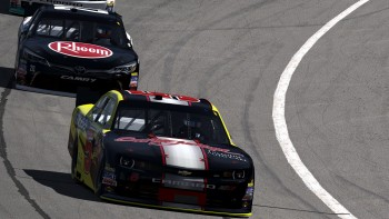 Alex Scribner and I racing at Auto Club speedway in the NASCAR iRacing Class B Series