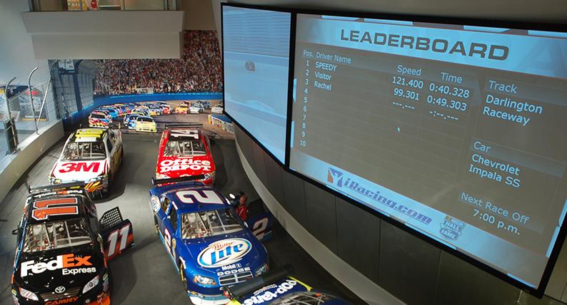 The iRacing Simulation Installment at the NASCAR Hall of Fame in Charlotte, North Carolina, USA.
